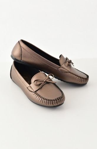 Women Flat Shoes Ballerina 100-01 Copper 100-01