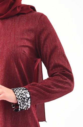 Kol Detaylı Tunik Pantolon İkili Takım 5442-01 Bordo