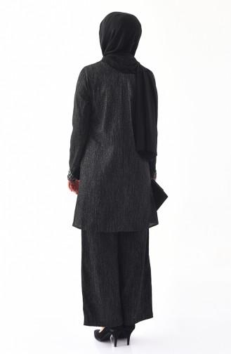 Bislife Sleeve Detailed Tunic Pants Double Suit 5442-02 Black 5442-02