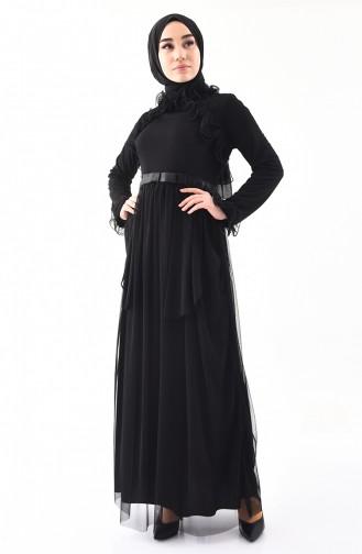 Robe de Soirée a Froufrous 81675-01 Noir 81675-01