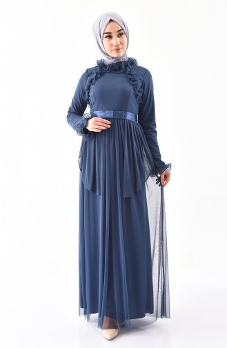 Fırfırlı Abiye Elbise 81675-02 İndigo