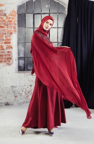 فستان سهرة بتفاصيل من الدانتيل 8487-07 لون خمري 8487-07
