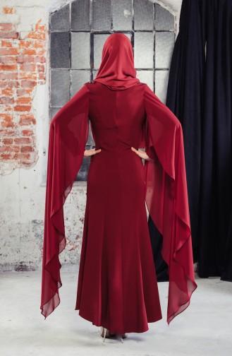 Guipure detailliertes Abendkleid 8487-07 Weinrot 8487-07