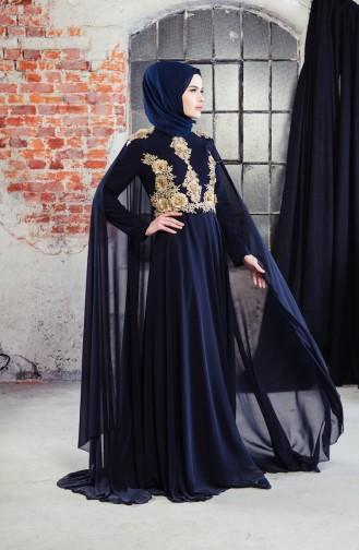 Dantelli Pelerinli Abiye Elbise 8240-01 Lacivert