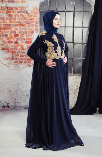 Ruched Cape Evening Dress 8240-01 Navy Blue 8240-01