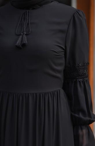 فستان شيفون بتفاصيل من الدانتيل 5472-09 لون اسود 5472-09