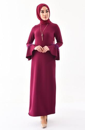 فستان مزين بقلادة 5584-04 لون ارجواني 5584-04