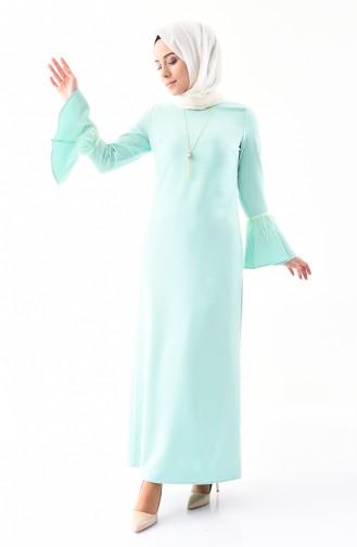 Kolyeli Elbise 5584-07 Mint Yeşili