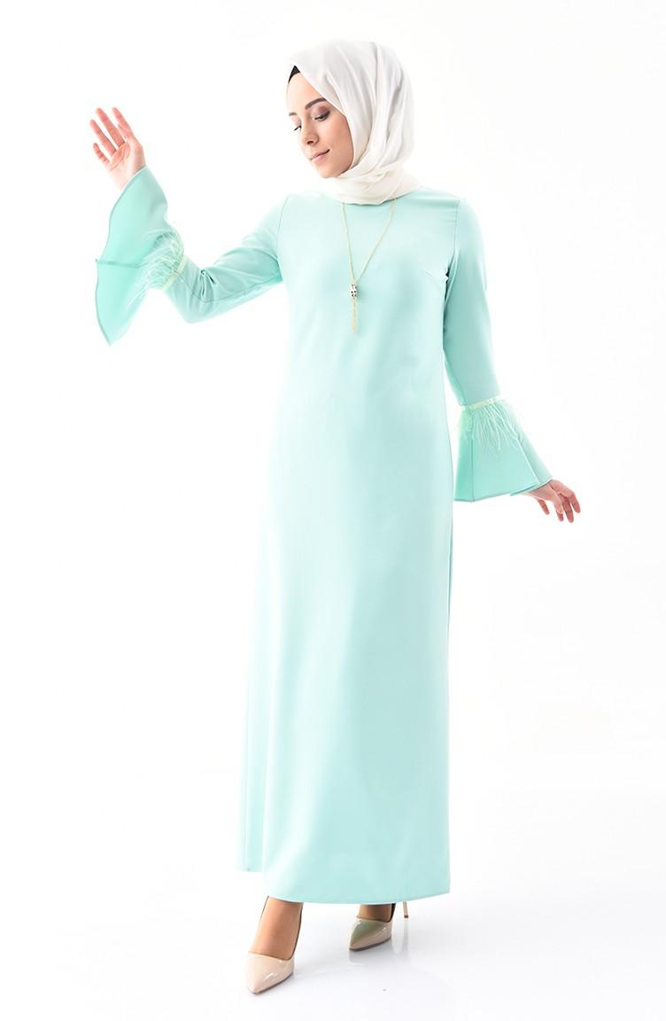 3a7bdecb6a71a فستان مزين بقلادة 5584-07 لون اخضر فاتح 5584-07