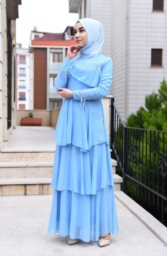 Dantel Detaylı Şifon Elbise 5595-02 Bebe Mavisi
