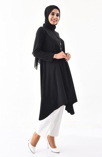 تونيك غير متماثل الطول بتصميم مُزين بقلادة 7051-01 لون أسود 7051-01
