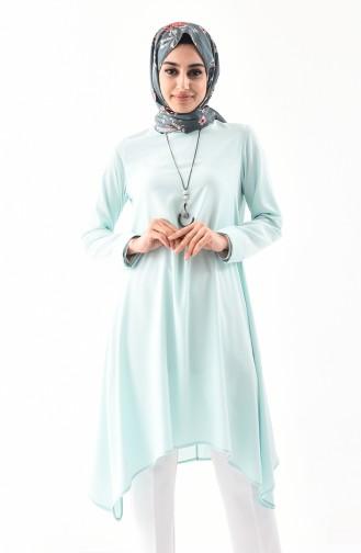 تونيك غير متماثل الطول بتصميم مُزين بقلادة 7051-03 لون أخضر مائل للأزرق الفاتح 7051-03