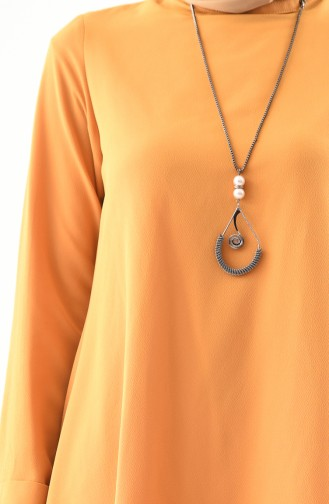 Asymmetrische Tunika mit Halskette 7051A-02 Senf 7051A-02