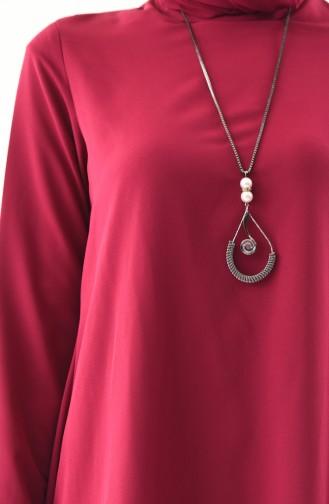 Asymmetrische Tunika mit Halskette 7051A-03 Zwetschge 7051A-03