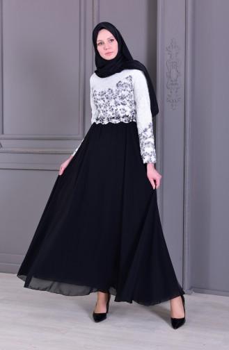 Taş Baskılı Abiye Elbise 0165-01 Beyaz Siyah 0165-01