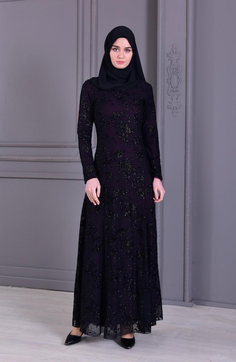 9cc2de5bd0e25 فستان سهرة بتفاصيل لامعة ومطبع 2177-03 لون ارجواني 2177-03