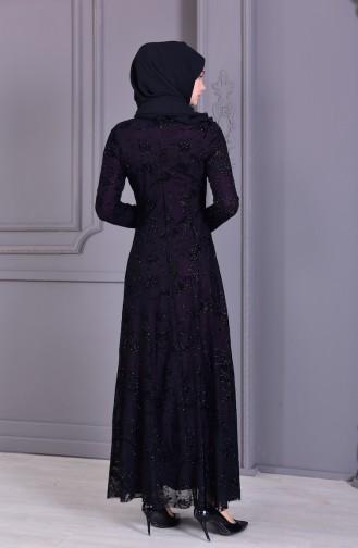 Flocked Printed Silvery Evening Dress 2177-03 Plum 2177-03