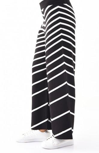 Triko Çizgili Bol Paça Pantolon 1817-02 Siyah Beyaz