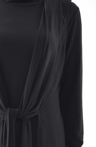 Fileli Yelek Elbise İkili Takım 1163-01 Siyah 1163-01