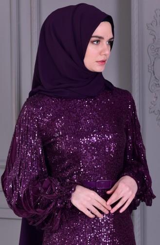 بورون  فستان بتفاصيل من الترتر 81653-04 لون بنفسجي 81653-04