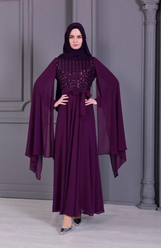 BURUN  Sequined Evening Dress 81668-02 Purple 81668-02