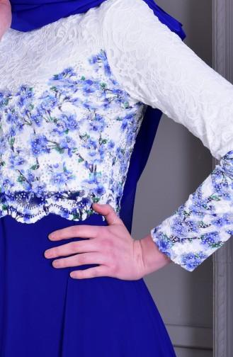 Taş Baskılı Abiye Elbise 0165-03 Beyaz Saks
