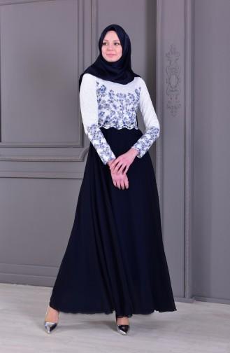 Taş Baskılı Abiye Elbise 0165-05 Beyaz Lacivert 0165-05