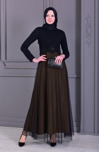 Laced Glittered Evening Dress 3839-13 Siyah Açık Haki Yeşil 3839-13
