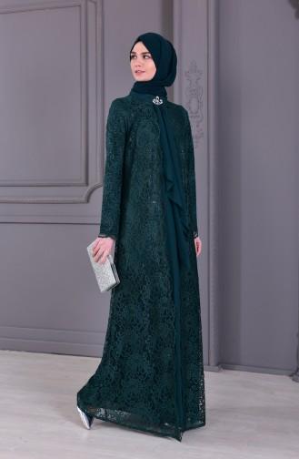Büyük Beden Takım Görünümlü Abiye Elbise 4001-04 Zümrüt Yeşili