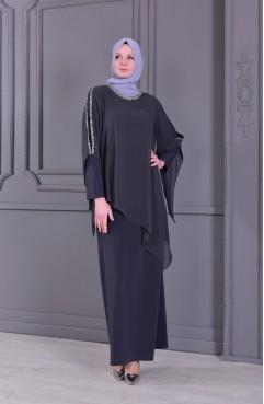 73a478822cbe0 فستان بتفاصيل من الدانتيل 6147-01 لون أسود 6147-01