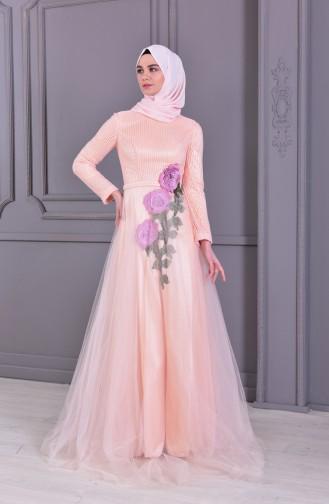 Nakış Detaylı Abiye Elbise 8145-01 Somon