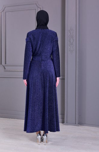 Pearl Detailed Silvery Evening Dress 4063-06 Navy 4063-06