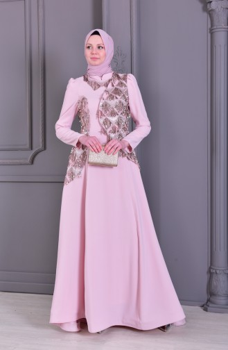 Sequin Detailed Evening Dress 7046-01 Powder 7046-01
