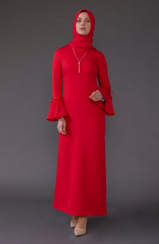 Kolyeli Elbise 5584-02 Kırmızı