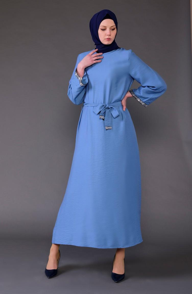 9da26e4b9ce76 Payet Detaylı Kuşaklı Elbise 5603-01 İndigo