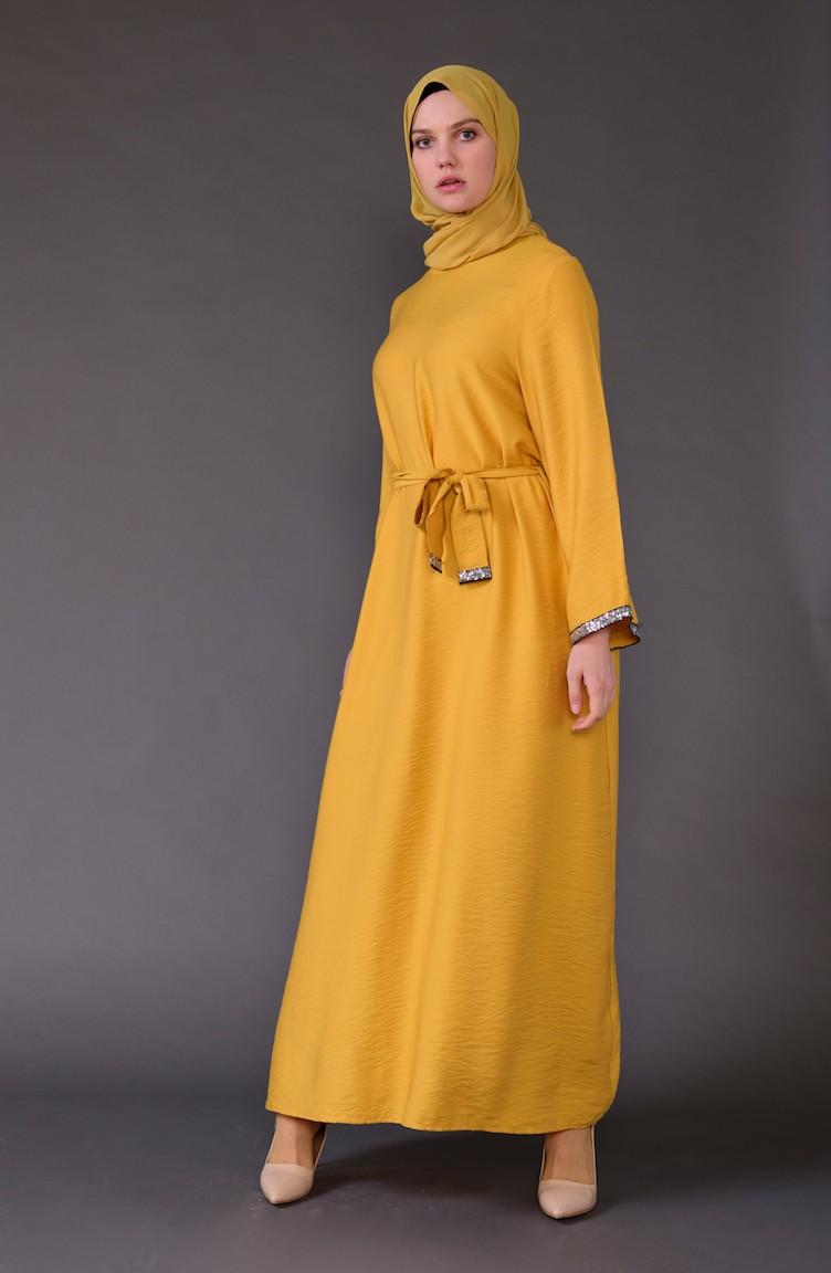 c58b622a56dad Payet Detaylı Kuşaklı Elbise 5603-03 Hardal
