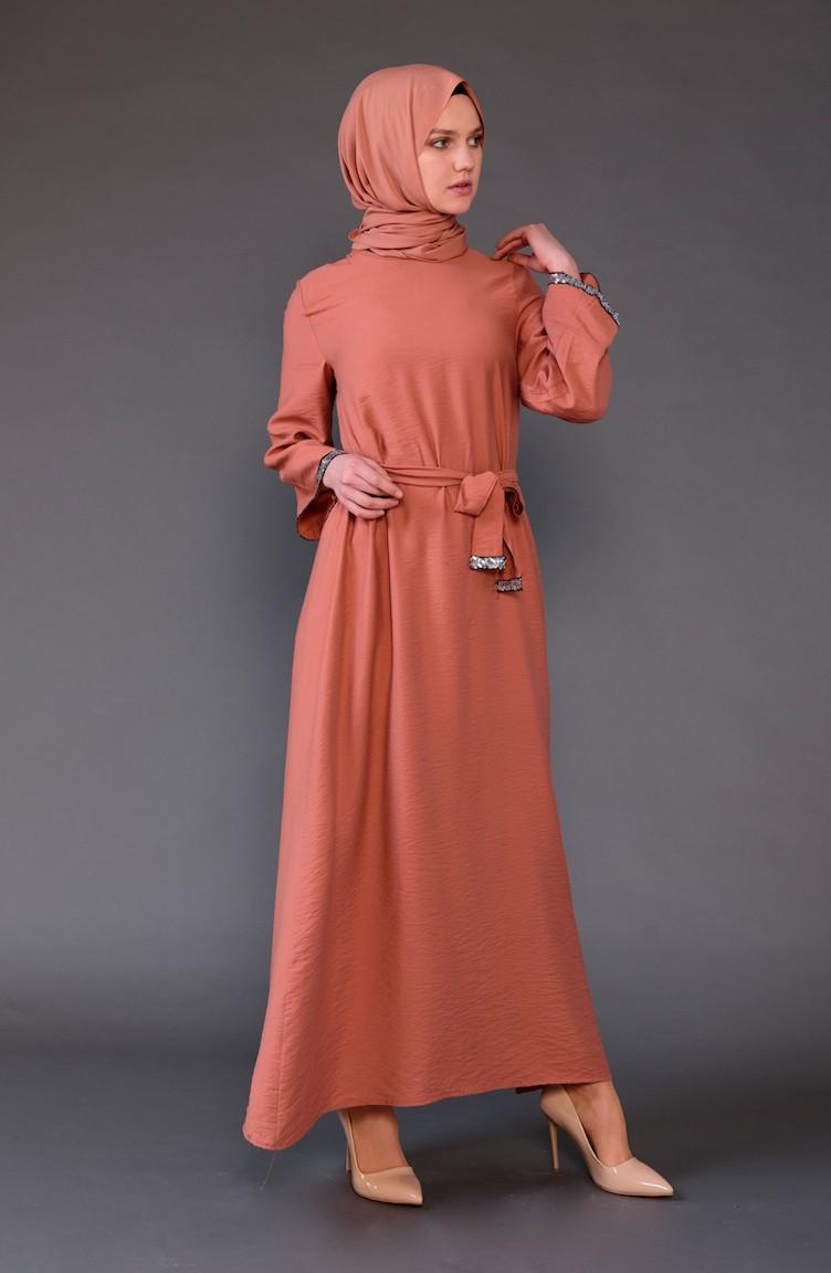 0c615df6e0706 Payet Detaylı Kuşaklı Elbise 5603-05 Kiremit