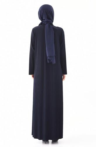 فستان بتصميم قصة واسعة وبمقاسات كبيرة 5849-01 لون كحلي 5849-01