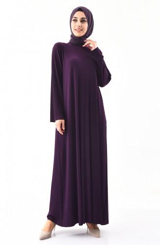 فستان بتصميم قصة واسعة وبمقاسات كبيرة 5849-02 لون بنفسجي 5849-02