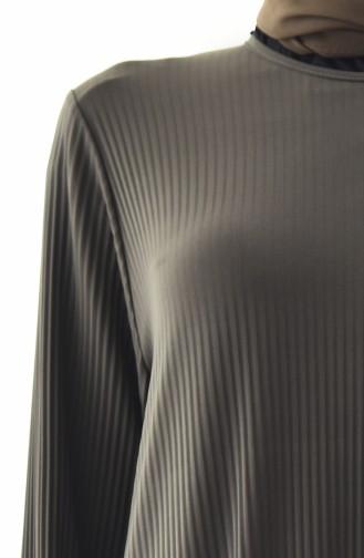 Büyük Beden Salaş Elbise 5849-03 Haki