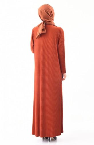 فستان بتصميم قصة واسعة وبمقاسات كبيرة 5849-04 لون قرميدي 5849-04