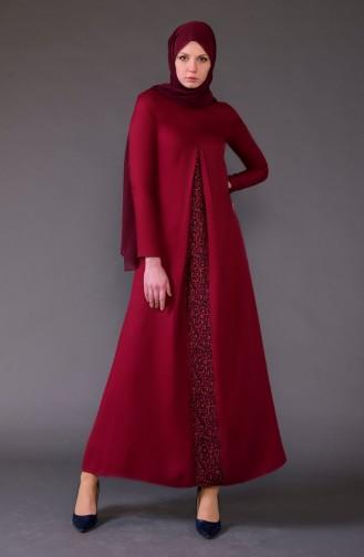 ميناهيل فستان مُرقط بتصميم قصة مفتوحة من الأمام 5004-04 لون خمري 5004-04