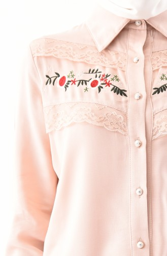Embroidery Detailed Tunic 2305-04 Salmon 2305-04