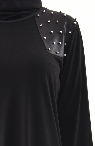 METEX Large Size Pearls Tunic 1128-01 Black 1128-01