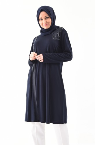 METEX Large Size Pearls Tunic 1128-03 Navy Blue 1128-03