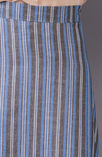 Çizgili Etek 8220-01 Mavi 8220-01