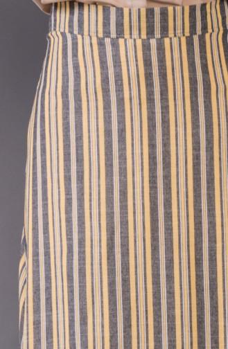 Çizgili Etek 8220-04 Sarı 8220-04