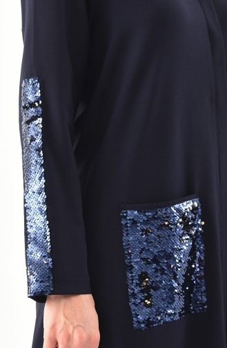 METEX Large Size Sequined Long Shirt 1121-05 Navy Blue 1121-05