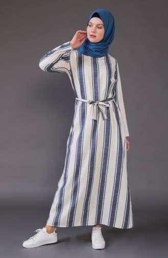 Striped Belted Dress 1326-02 light Beige Navy 1326-02