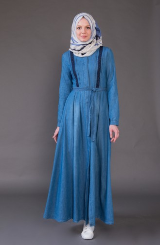 Pardessus Jean a Ceinture 8872-02 Bleu Jean 8872-02